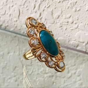 18K Gold Over Silver Turquoise Ring - Size 6